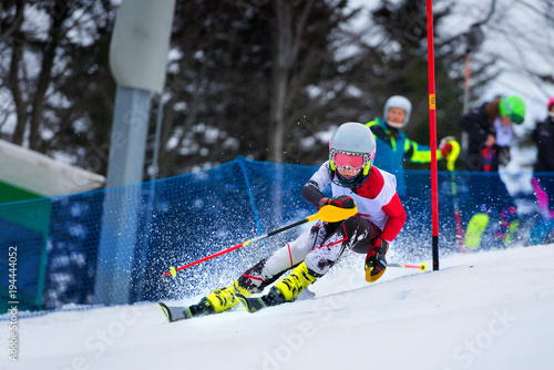 Foto op Canvas Wintersporten Slalom skiing competition