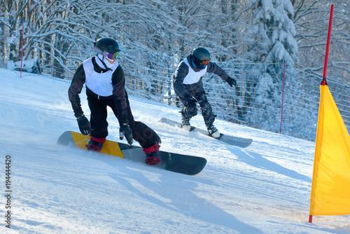 Poster Wintersporten Snowboard racing slalom