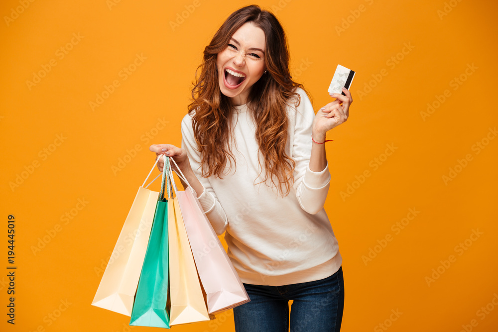 Fototapeta Excited screaming young woman