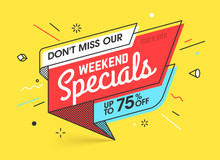 Weekend Specials, Sale Banner ...