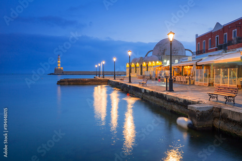 Photo Stands Port Architecture of Chania at night with Old Venetian port on Crete. Greece
