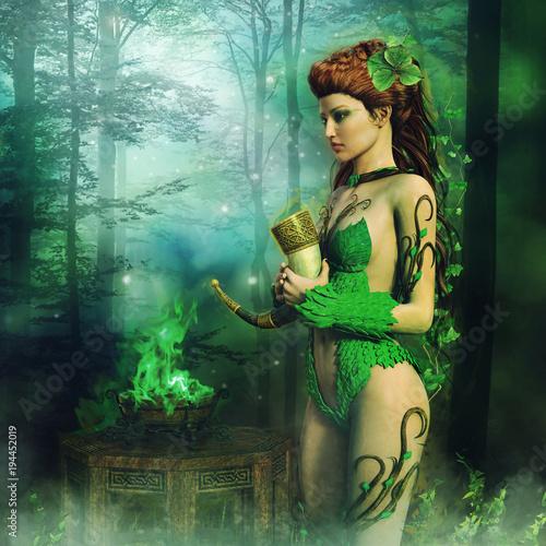 Wall Murals Mermaid Kapłanka elfów stojąca z rogiem myśliwskim nad zielonym ogniem w lesie