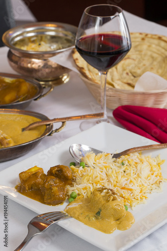 Indian Curry Food Spread On A Fancy Dinner Table With Rice ...