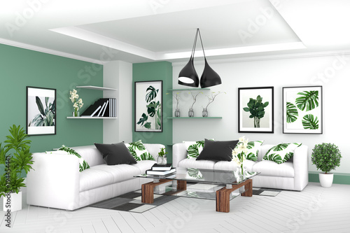 Living Room Interior Room Modern Tropical Style With