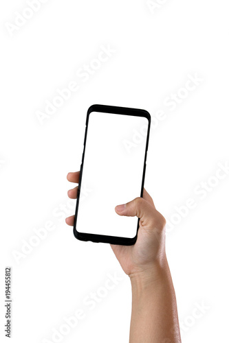 Hand holding cell phone blank on white screen and white background