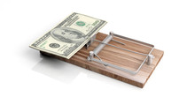 Dollars Banknotes On A Mouse Trap Isolated On White Background. 3d Illustration