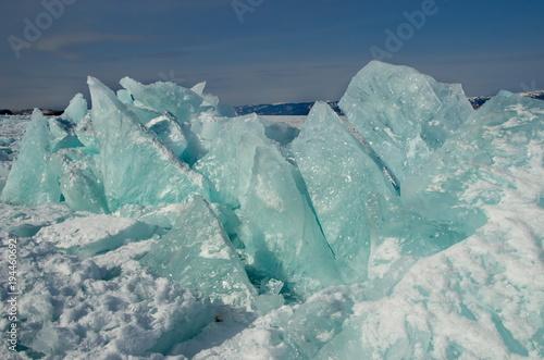 Deurstickers Poolcirkel Russia. A pile of ice on lake Baikal.
