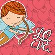 cupid boy with bow and arrow love card vector illustration