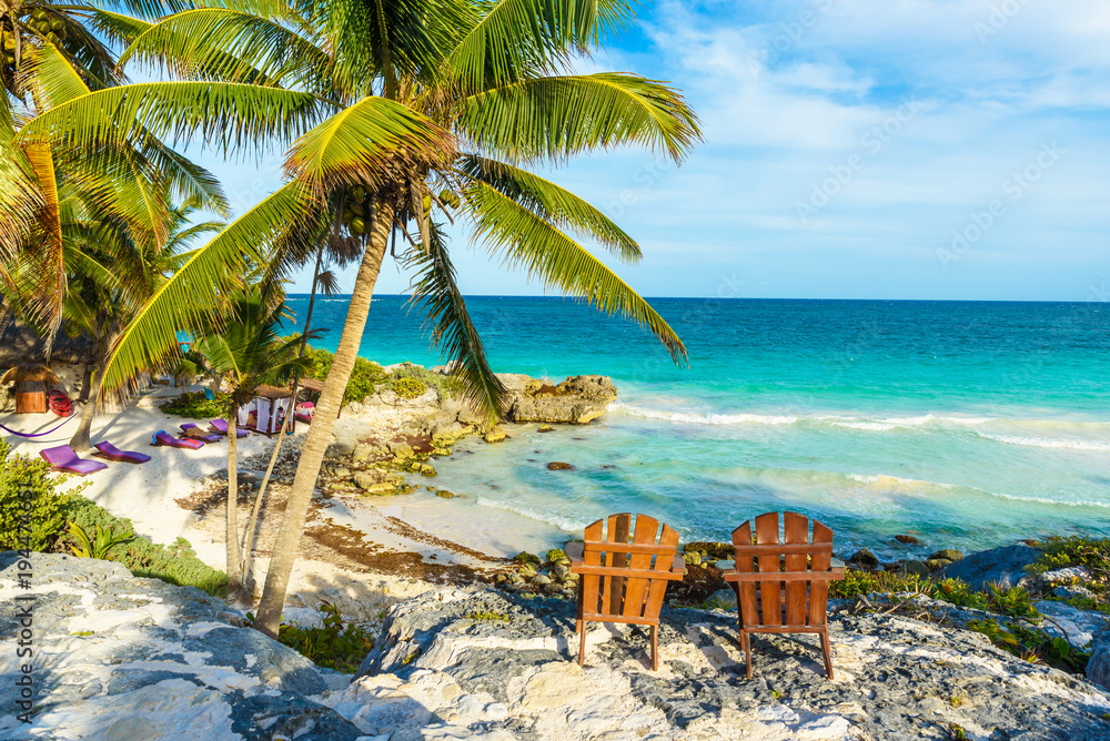 Fototapety, obrazy: Recreation at paradise beach resort with turquoise waters of Caribbean Sea at Tulum, close to Cancun, Riviera Maya, tropical destination for vacation, Mexico