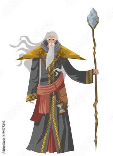 old wise magician with staff Poster