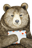 A brown bear holding a mail envelope with a love heart. Hand painted watercolor illustration on white background. Can be used as a standard size postcard. - 194478095