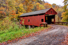 Covered Bridge On Dirt Road Wi...