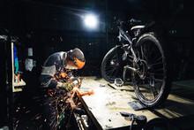 Man Working On A Custom-made M...