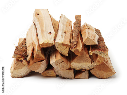 Leinwand Poster firewood on white background