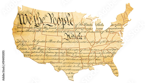 Fotografia The United States Constitution concept with map and text