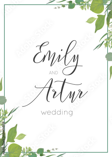 Botanical Watercolor Style Wedding Invitation Invite Save The Date Card Floral Design With