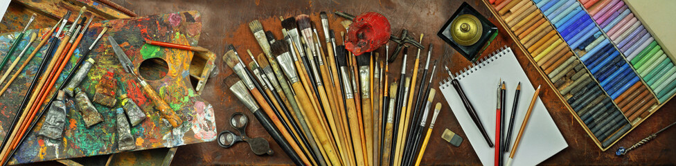 Panorama still life with artist's tools