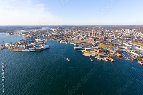 Fényképezés  Aerial view of Gloucester City and Gloucester Harbor, Cape Ann, Massachusetts, USA