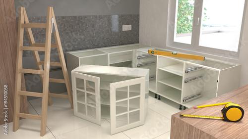Fotografie, Tablou  Assemblyf of kitchen furniture