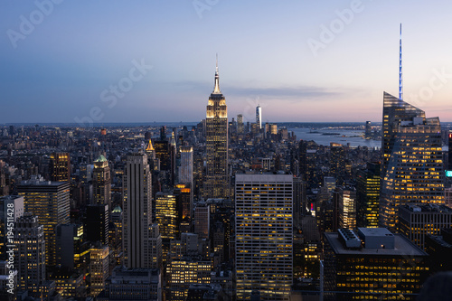 View of Manhattan skyline, New York City.