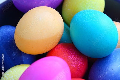 Colored Easter eggs, close-up