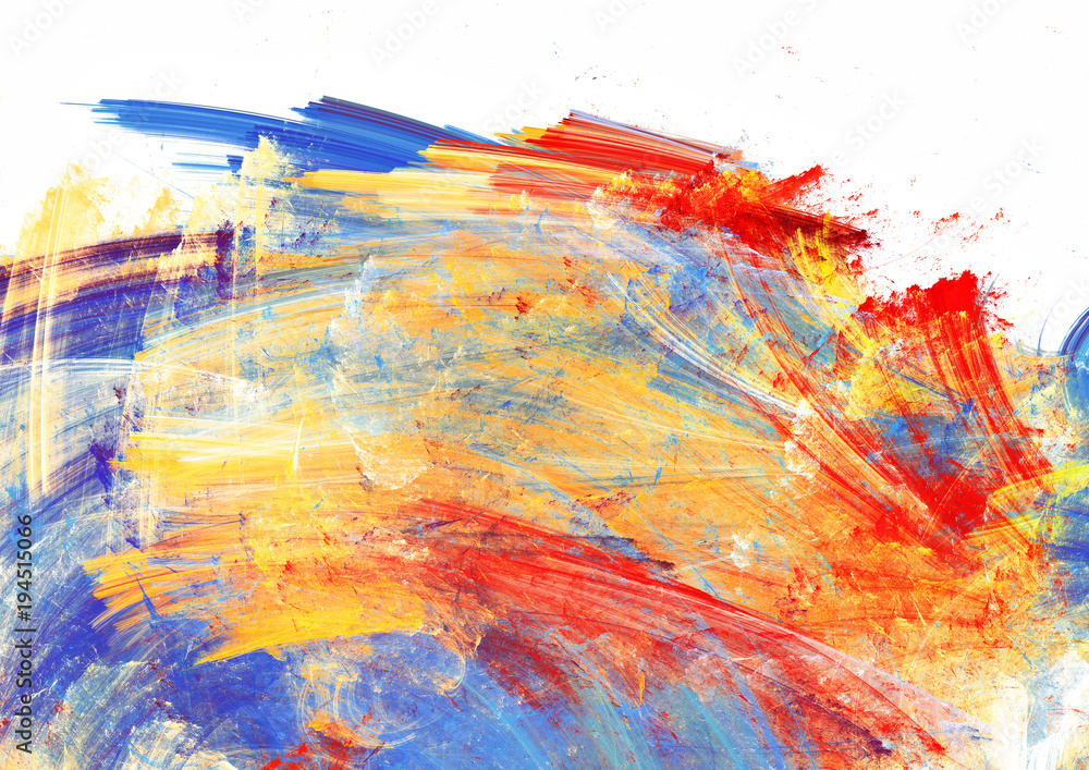 Fototapeta Bright artistic splashes on white. Abstract painting color texture. Modern futuristic pattern. Multicolor dynamic background. Fractal artwork for creative graphic design.