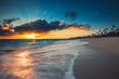 Beautiful sunrise over the tropical sea