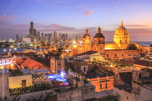 Spoed Foto op Canvas Zuid-Amerika land Night View of Cartagena de Indias, Colombia