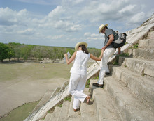 Tourists At Chichen Itza Templ...