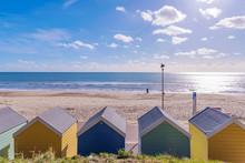 Bournemouth Beach Huts And Sea...