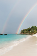 Double Rainbow On The Beach