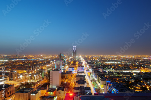 Riyadh Skyline Night View #9 Canvas Print