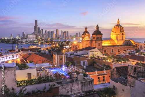 Foto op Aluminium Zuid-Amerika land Night View of Cartagena de Indias, Colombia