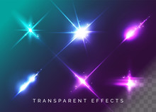 Set Of Transparent Light Effects. Vector Neon Flare. Futuristic Glow Effect For Button, Game Interface Design. Energy Universe Aura, Vibrant Radiance, Disco Glare, Space Explosion, Illuminated Stage.
