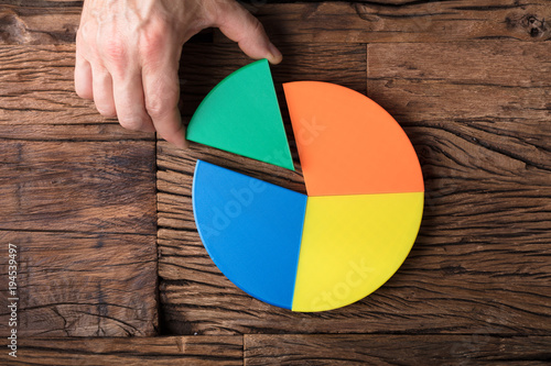 Leinwand Poster  Businessperson Placing A Last Piece Into Pie Chart