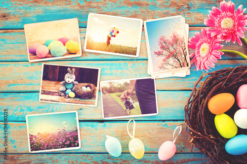 Fotografie, Obraz  Photo album in remembrance and nostalgia of Happy easter day on wood table  backgroud