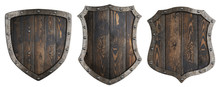 Wooden Medieval Heraldic Shields Set Isolated 3d Illustration