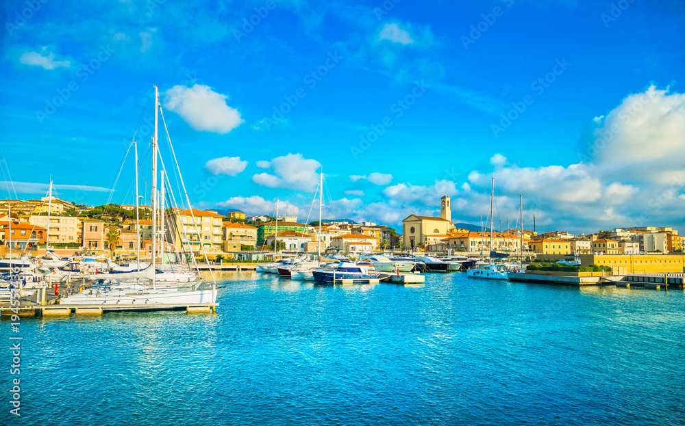 Fototapety, obrazy: San Vincenzo port or marina and seafront panoramic view. Tuscany, Italy.