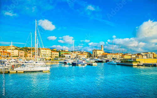 San Vincenzo port or marina and seafront panoramic view. Tuscany, Italy.