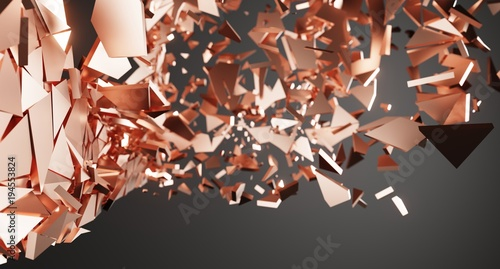 Fotografie, Obraz  3D Rendering Of Abstract Shattered Surface With Chaotic Flying Particles Backgro