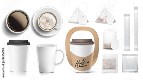 Vector Cups Mock Up White Coffee Mug