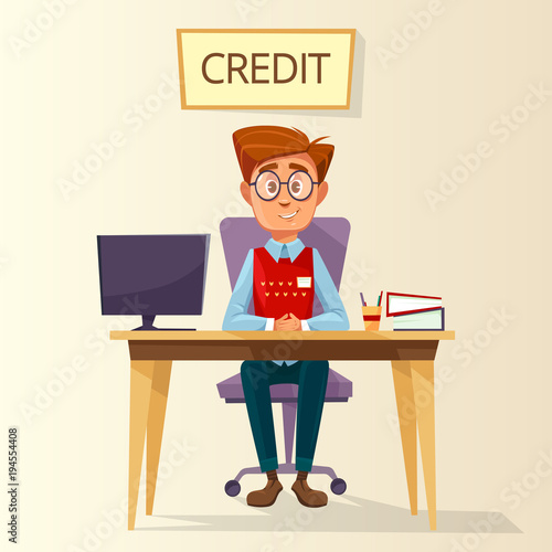 Vector cartoon manager, bank employee, clerk sitting at workplace in bank credit office. Young male business man character consultant providing mortgage money loan financial consultation