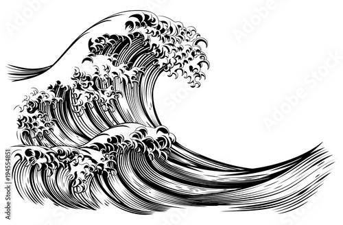 Photo  Great Wave Japanese Style Engraving