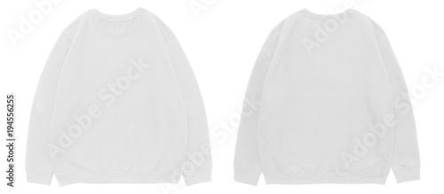 blank sweatshirt color white template front and back view on white