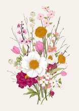 Bouquet. Spring Flowers And Twig. Peonies, Spirea, Cherry Blossom, Dogwood. Vintage Botanical Illustration. Colorful