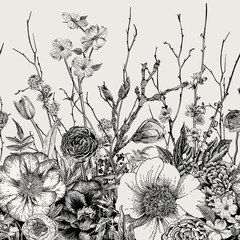 Panel Szklany Kwiaty Seamless border. Spring Flowers and twig. Peonies, Spirea, Cherry Blossom, Dogwood. Vintage botanical illustration. Black and white