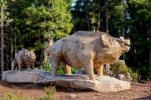 Big Wooden Wild Boar Statue
