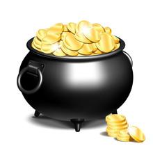 Cauldron Or A Black Pot Full Of Gold Coins