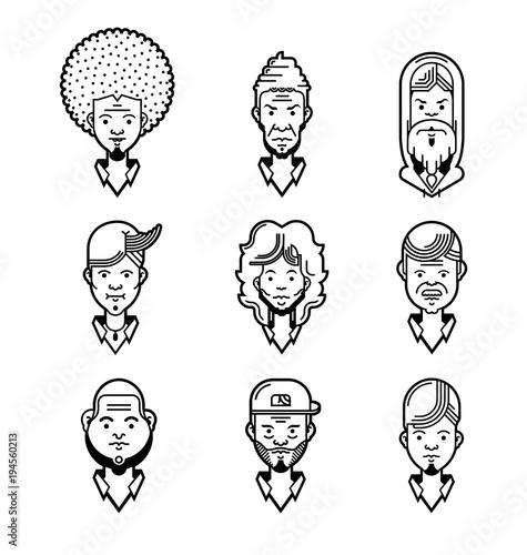 Set of cartoon characters  Cool avatars  Line icons  Flat