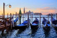 Gondolas In Front Of The Piazz...